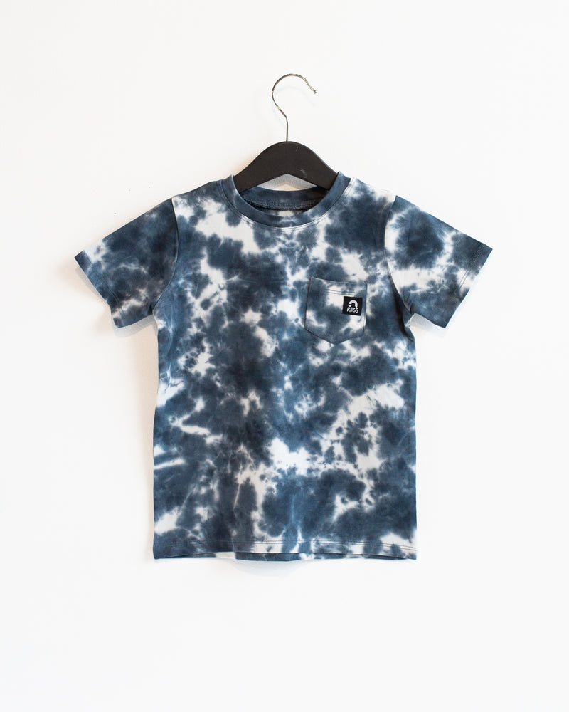 Short Sleeve Chest Pocket Tee - 'Navy Tie Dye' - Whisper White