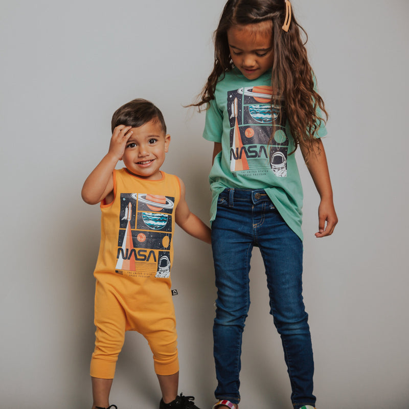 Boy & Girl in Matching Baby Romper and Kids T Shirt