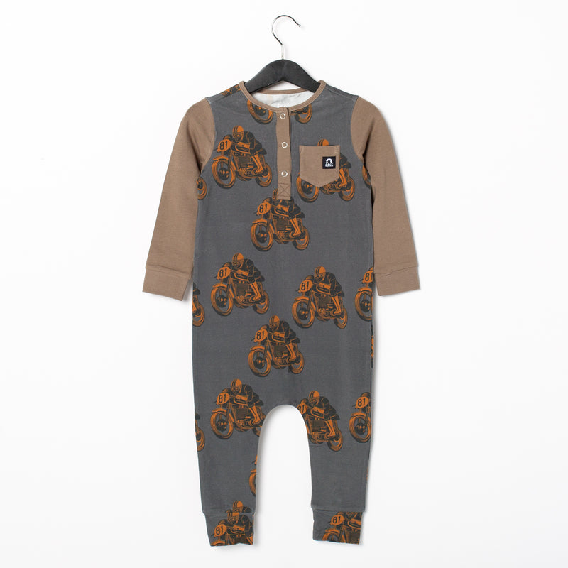 Long Sleeve Henley Pocket Rag Romper - 'Moto Racers'