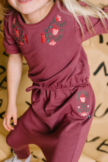 PREORDER Puff Sleeve Gather Waist Rag Romper - 'Floral Embroidery' - Roan Rouge