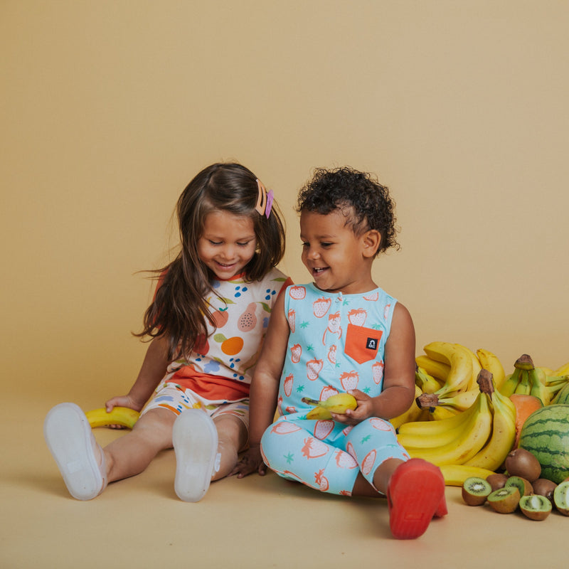 Strawberry and fruit baby romper designs