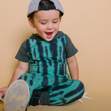 Short Sleeve Hooded Peek Pocket Rag Romper - 'Tie Dye' - Basil & Phantom