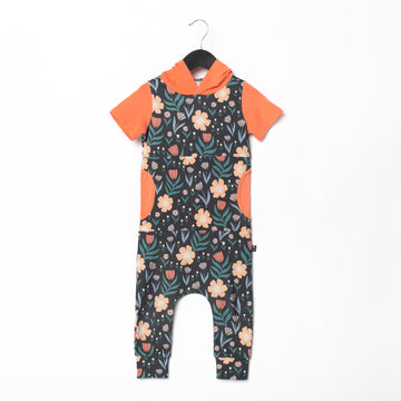 Short Sleeve Hooded Peek Pocket Rag Romper - 'Spring Floral' - Phantom