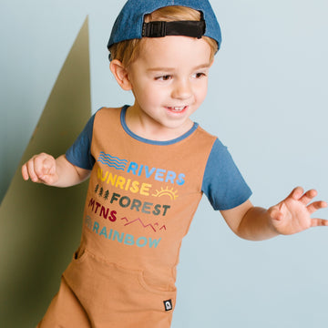 Short Sleeve Faux Pocket Rag Romper - 'Elements of the Oudoors' - Desert Tan