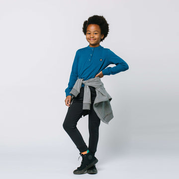 Long Sleeve Henley Pocket Kids Essentials Tee - 'Kids Tee in Multiple Colors'