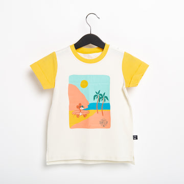 Short Rolled Sleeve Kids Tee - 'Surfs up Mickey' - Marshmallow - Disney Collection from RAGS