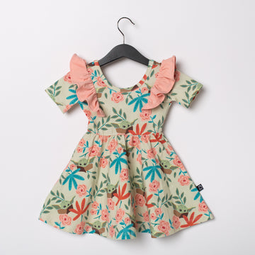 Short Sleeve Ruffle Swing Dress - 'The Child Floral' - Star Wars Collection from RAGS