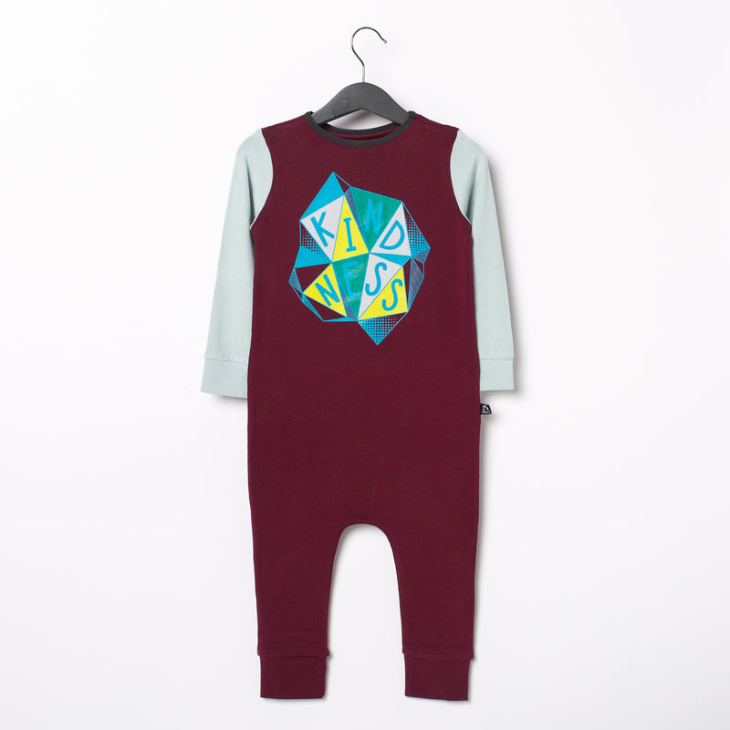 Long Sleeve Rag Romper - 'Kindness' - Windsor Wine