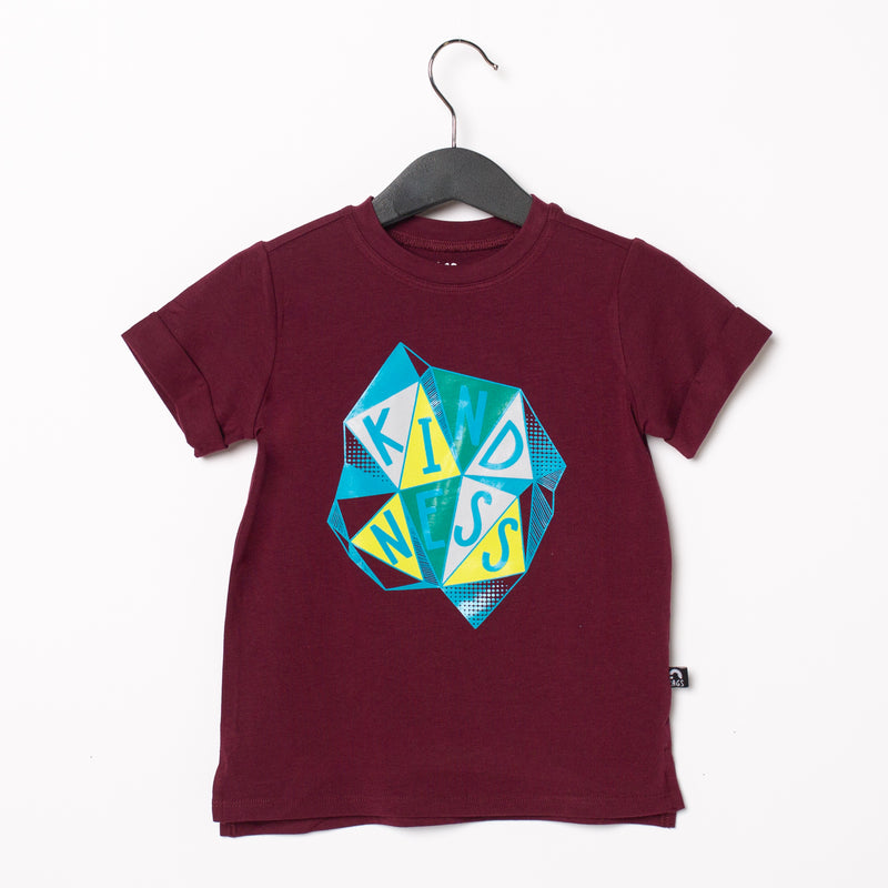 Rolled Sleeve Kids Tee - 'Kindness' - Windsor Wine