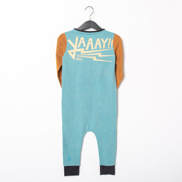 Long Sleeve Kangaroo Pocket Rag Romper - '$34.65 at Checkout' - 'Yaaay!!' - Reef Waters