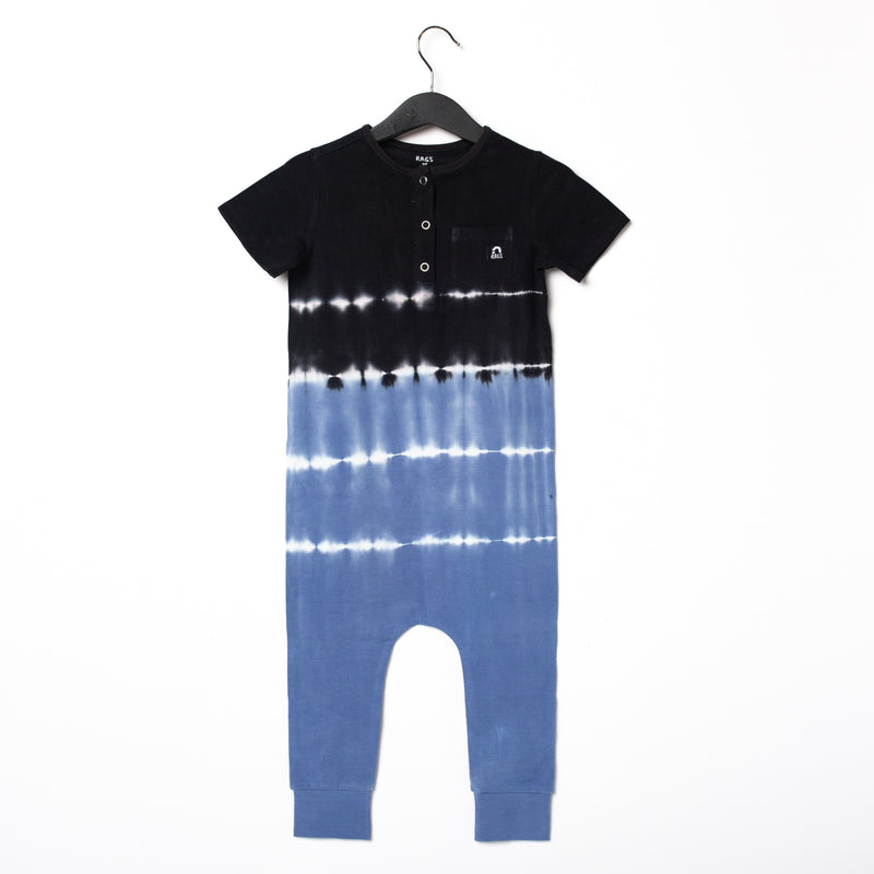Short Sleeve Henley Pocket Rag Romper - 'Regatta Tie Dye' - Black