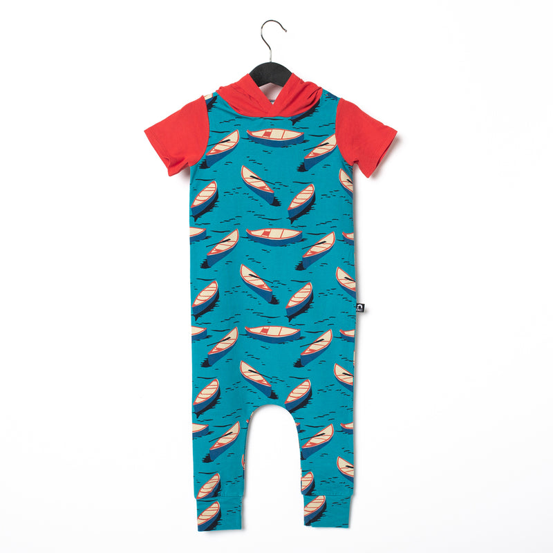 Short Sleeve Hooded Rag Romper - 'Canoes'