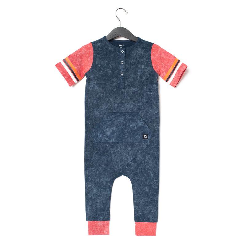 Retro Short Sleeve Henley Kangaroo Pocket Rag Romper - 'Washed Midnight Navy'