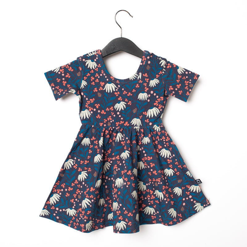 Short Sleeve Swing Dress - 'Hanging Daisies Floral'
