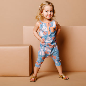 Tank Henley Capri Rag Romper - 'Aurora Floral' - Disney Collection from RAGS