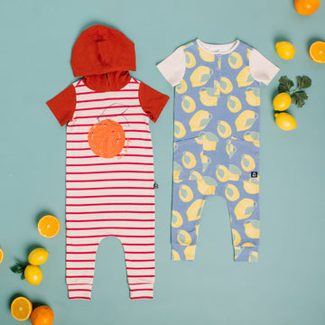 Short Sleeve Hooded Rag Romper - 'Une Orange' - Turtledove & Poinsettia Stripe