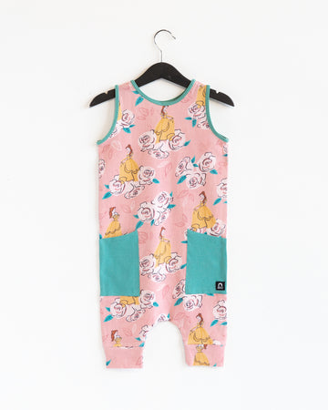 Tank Capri Hip Pocket Rag Romper - 'Belle Floral' - Disney Collection from RAGS