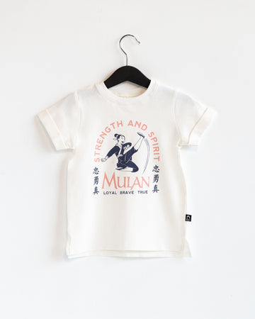 Rolled Sleeve Kids Tee - 'Mulan' - Disney Collection from RAGS