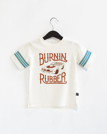 Retro Sleeve Kids Tee - 'Burnin Rubber' - Whisper White