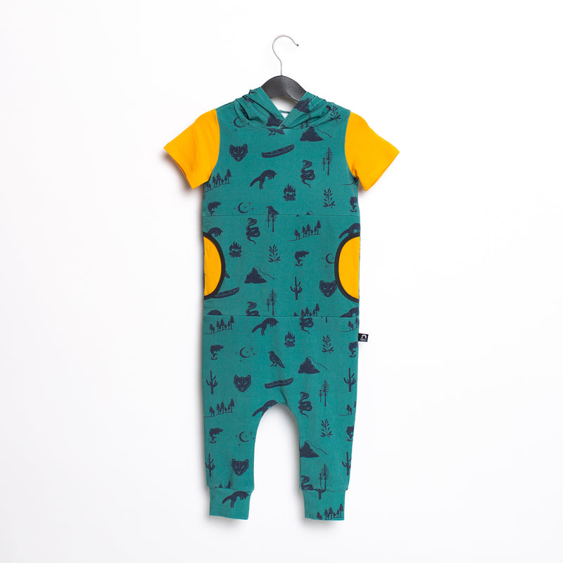 Short Sleeve Hooded Peek Pocket Rag Romper - 'Ivy Outdoors'
