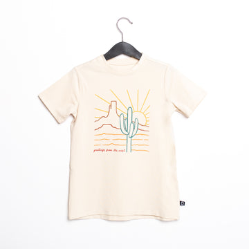 Short Sleeve Rounded Tee - 'Greetings from the West' - Whitecap Gray