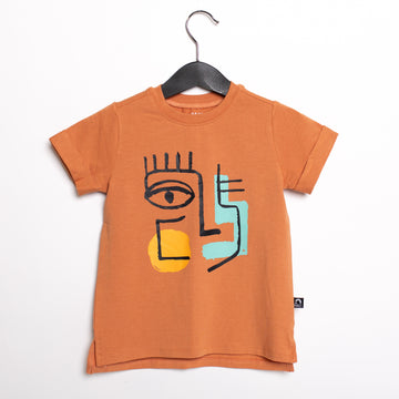 Short Sleeve Tee - 'Abstract Face' - Caramel