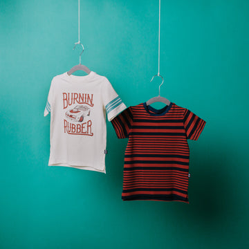 Rolled Sleeve Kids Tee - 'Woven Stripes' - Rooibos Tea