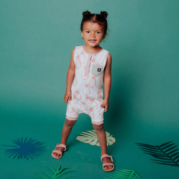 Tank Pocket Henley Rag Romper - 'Pineapples' - Turtledove