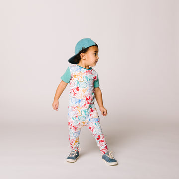 Short Sleeve Hip Pocket Rag Romper - 'Mickey with Friends' - Disney Collection from RAGS