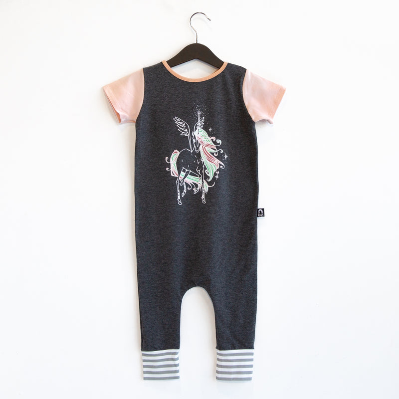 Short Sleeve Rag Romper - 'Ruby the Pegasus' - Charcoal