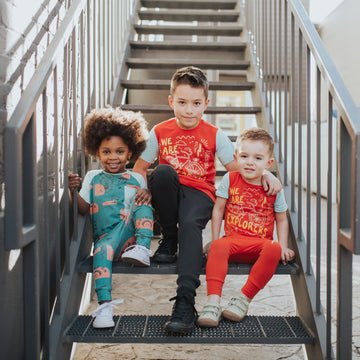 Rolled Sleeve Kids Tee - 'We Are Explorers' - Red Clay