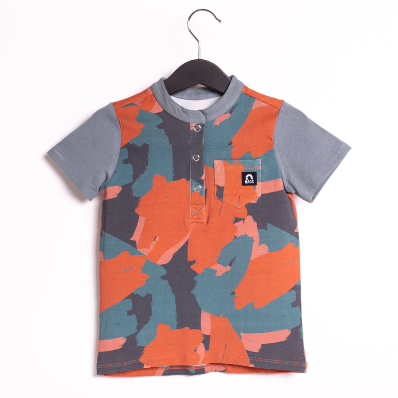 Short Sleeve Henley Pocket Kids Tee - '$16.50 at Checkout' - 'Painterly Swatches'