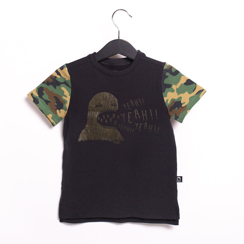 Short Sleeve Kids Tee - 'Yeah Yeah Monster' - Camo and Phantom