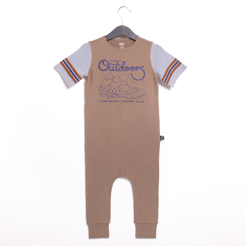 Retro Short Sleeve Rag Romper - 'Great Outdoors' - Fallen Rock