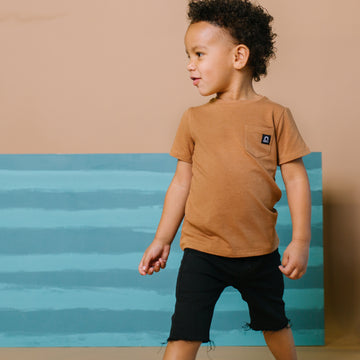 Short Sleeve Chest Pocket Kids Essentials Tee  - 'Camel'
