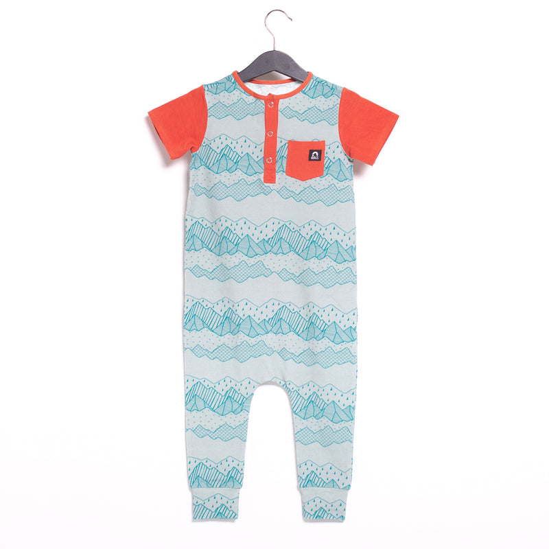 Short Sleeve Henley Pocket Rag Romper - 'Blue Mountains'