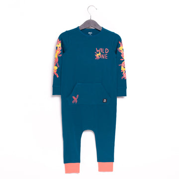 Long Sleeve Kangaroo Pocket Rag Romper - 'Wild One' - Lyons Blue