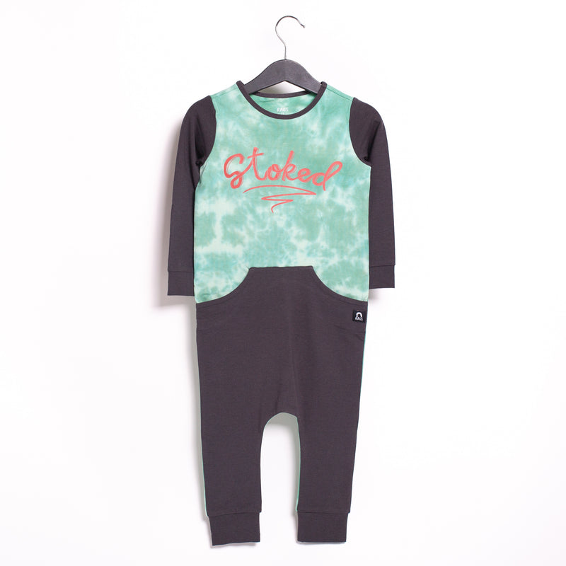 Long Sleeve Faux Pocket Rag Romper - '$34.65 at Checkout' - 'Stoked' - Aqua Foam & Bottle Green Tie Dye
