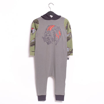 Long Sleeve Hooded Rag Romper - '$34.65 at Checkout' - 'Flying Wolf' - Griffin with Motorcycle Sleeves