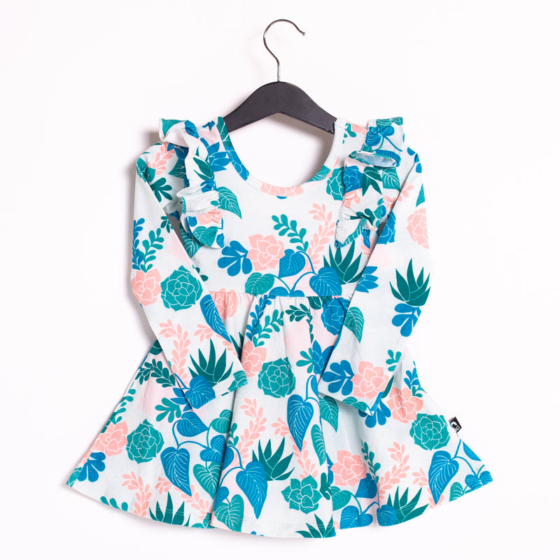Long Sleeve Ruffle Swing Dress - 'Succulent Floral'