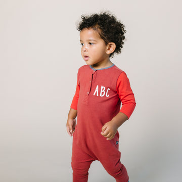 3/4 Sleeve Henley Rag Romper - '$34.65 at Checkout' - 'ABC' - Tandori Spice