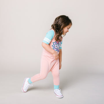Retro Short Sleeve Rag Romper - 'Bam Bam' - Coral Cloud