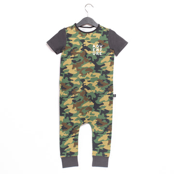 Short Sleeve Rag Romper - 'Adventure (Minor Defect)' - Camouflage Green