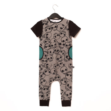 Short Sleeve Peek Pocket Rag Romper - 'Skulls' - Black