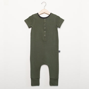 Short Sleeve Henley Essentials Rag Romper - 'Olive'