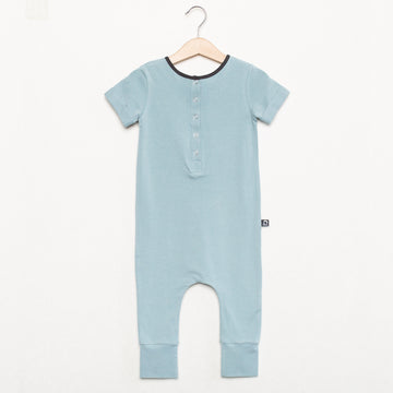 Short Sleeve Henley Essentials Rag Romper - 'Icy Blue'