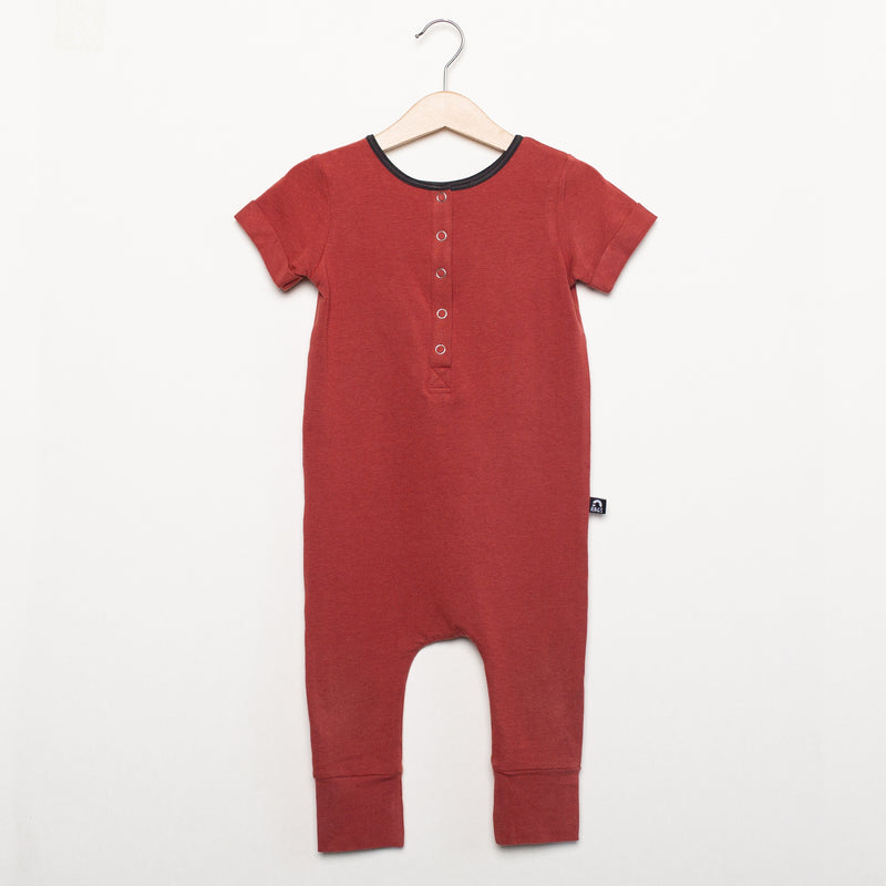 Short Sleeve Henley Essentials Rag Romper - 'Rust'