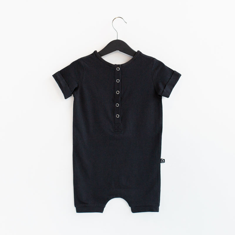Rolled Short Sleeve Henley Short Essentials Rag Romper - 'Phantom' - Summer