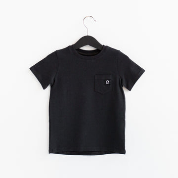 Short Sleeve Chest Pocket Kids Essentials Tee - 'Phantom Black'