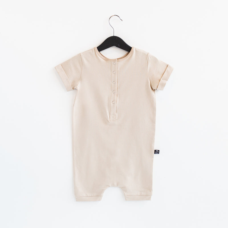 Rolled Short Sleeve Henley Short Essentials Rag Romper - 'Sand Dollar' - Summer